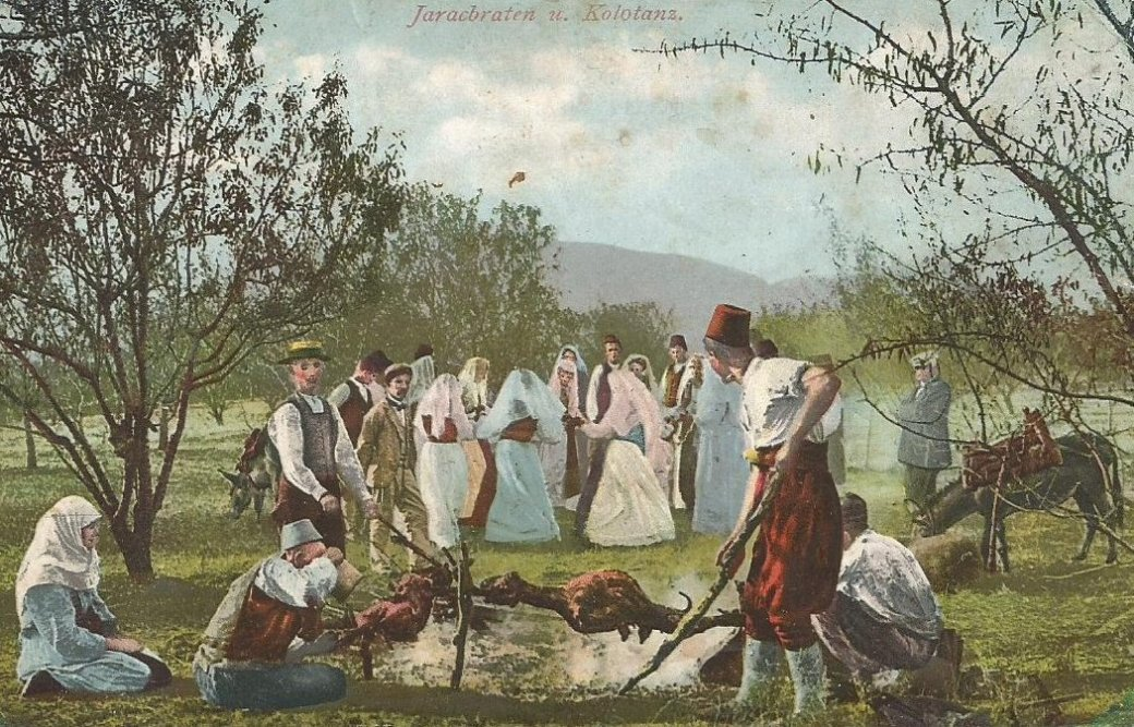 Bosnian people gather for a lamb roast